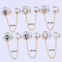 1 шт 3D металлическая Ювелирная цепочка для дизайна ногтей 10-17 мм японский стиль украшения для ногтей хрустальный Маникюр Циркон алмазные амулеты JE314-319