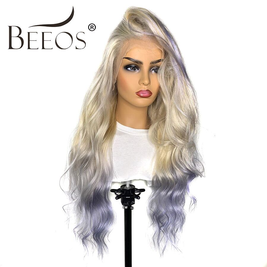 Beeos Ombre Gray Glueless 13*4 Lace Front Human Hair Wigs Brazilian Body Wave Lace Front  Wig Pre Plucked Hair Line Remy Hair