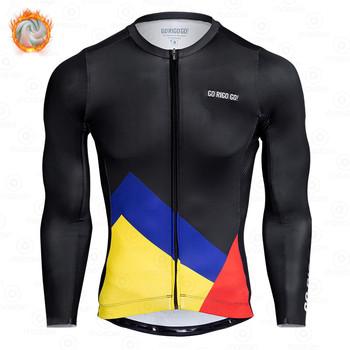 Zimowa koszulka kolarska GO RIGO GO męska odzież termiczna z polaru Ropa Ciclismo długie rękawy koszulka rowerowa górska ciepła tanie i dobre opinie gobik rapha CN (pochodzenie) POLIESTER Pełne cycling shirt Winter Koszulki Zamek na całej długości Dobrze pasuje do rozmiaru wybierz swój normalny rozmiar