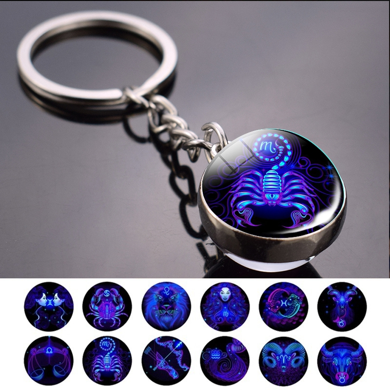 12 Constellation Keychain Fashion Double Side Cabochon Glass Ball Keychain Zodiac Signs Jewelry For Men For Women Birthday Gift