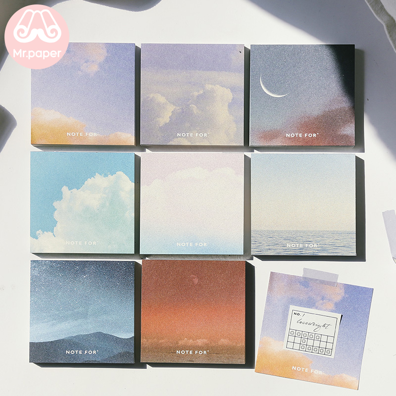 Mr.paper 8 Designs 100 Pcs Dreamy Time Sky Moon Memo Pad Kawaii Stationery Notes Portable Notepad School Office Supply Papeleria