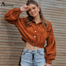 Aimsnug Brown Casual Drop Shoulder Long Sleeve Crop Coat Patchwork Jacket Women High Street Single Breasted Solid Short Jackets