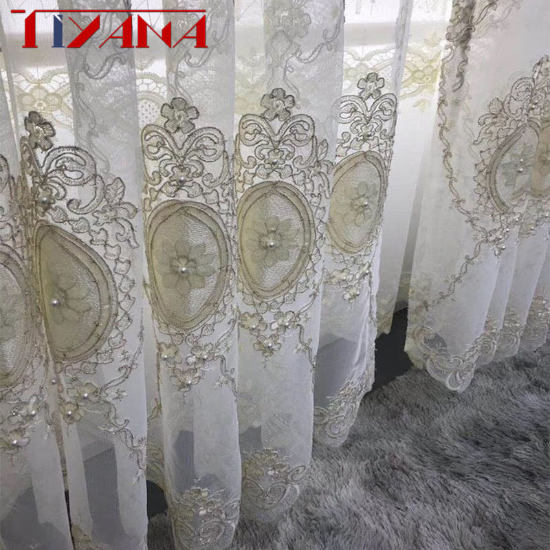 European Luxury Embroidery Screen Beads Tulle Curtain Luxury Home Decoration For Living Room Bedroom Custom Sheer Curtain T260#4