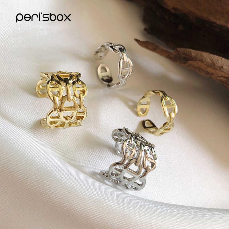 Peri'sbox 2 Desain Memotong Tiga Berlapis Rantai Cincin Multi Link Tidak Teratur Terbuka Cincin untuk Wanita Minimalis Disesuaikan Cincin 2019