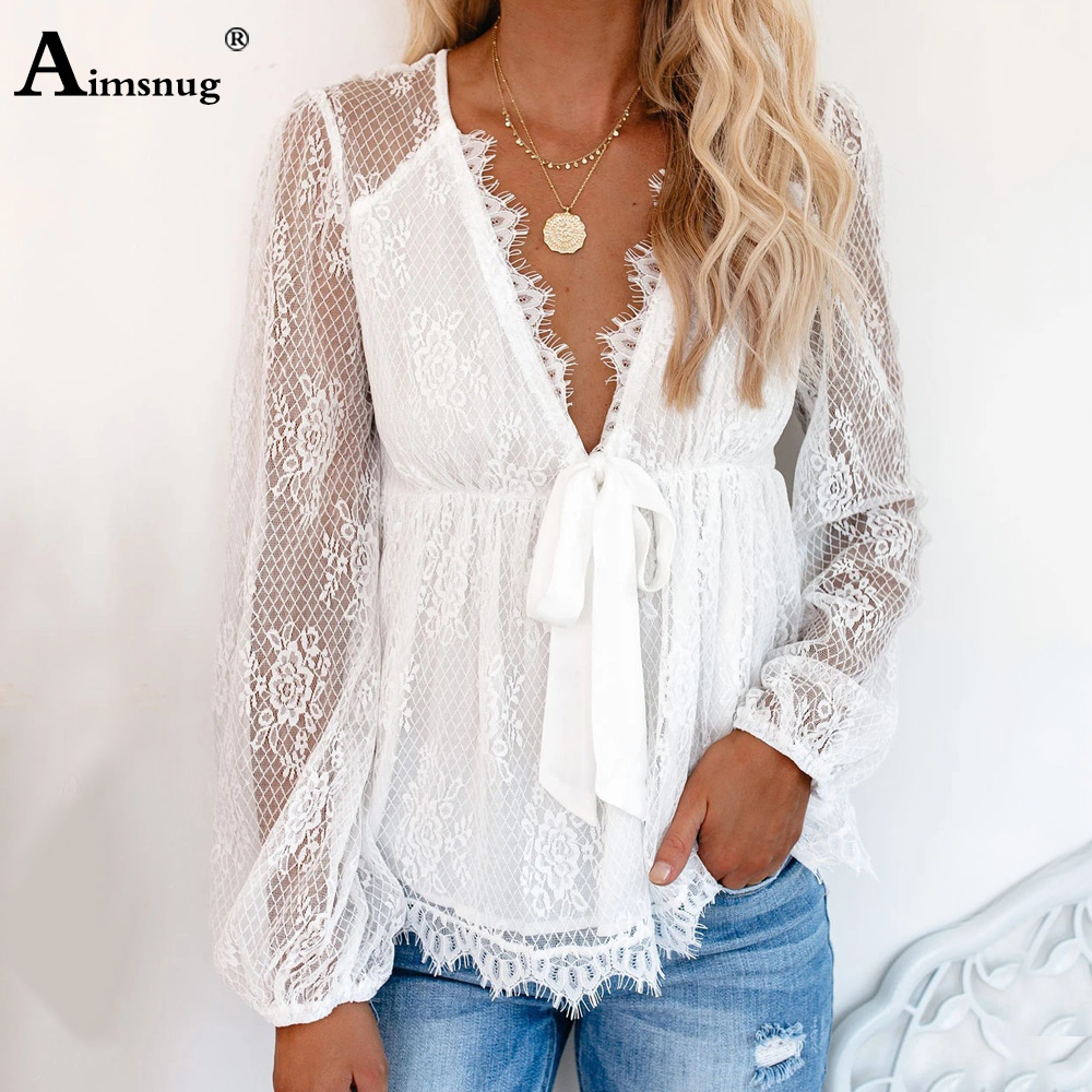 Aimsnug Deep V-neck Women Elegant Shirt Transparent Blouse Top Summer Bow Tie Prairie Chic Lace Shirt Blusas Women Clothing 2020 7