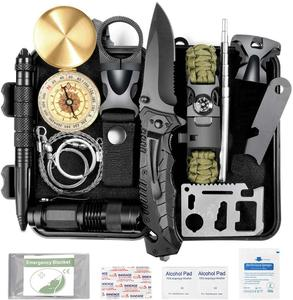 Emergency Camping Gear Survival   Man gifts 15 in 1 Emergency Backpack Survival Kit Tactical Pouch Tool for Camping Hunting|Safety & Survival| |  -