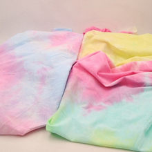 Gradient Tie-Dye Cotton Jersey Fabric Thin Soft Prints Patchwork Knitted Fabrics Tissue Cloth DIY Sewing Summer Dress T-Shirt 1M