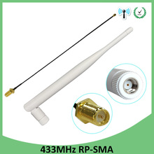 цена на 5PCS 433Mhz Antenna 5dbi GSM 433 mhz RP-SMA Connector Rubber Lorawan antenna+ IPX to SMA Male Extension Cord Pigtail Cable