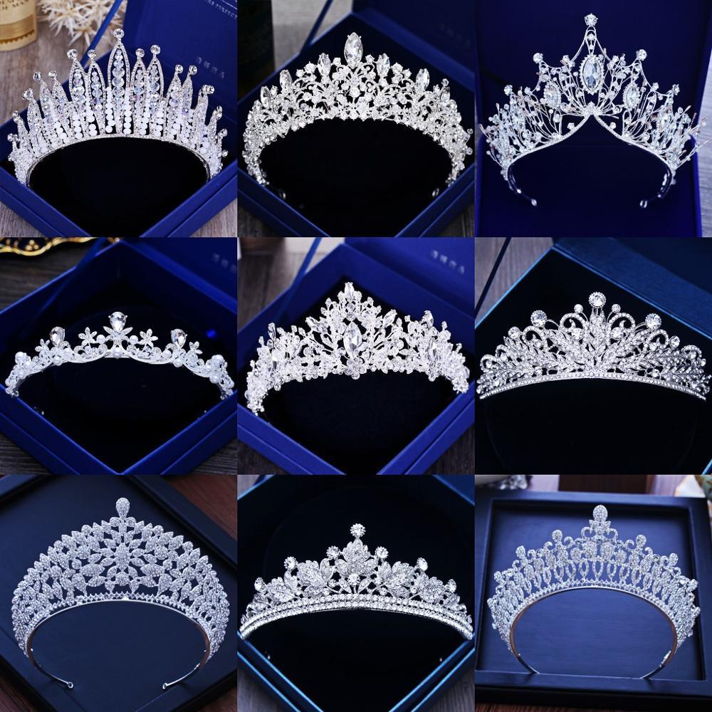 Разнообразные серебряные цвета золотые хрустальные короны для невесты тиара модная королева для свадьбы корона головной убор Свадебные ук...