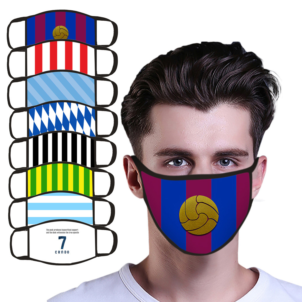 Mascarillas Football Fans Must-Have Printed  Masks, Which Can Be Washed And Reused Barcelona Team pattern Máscara de abanico
