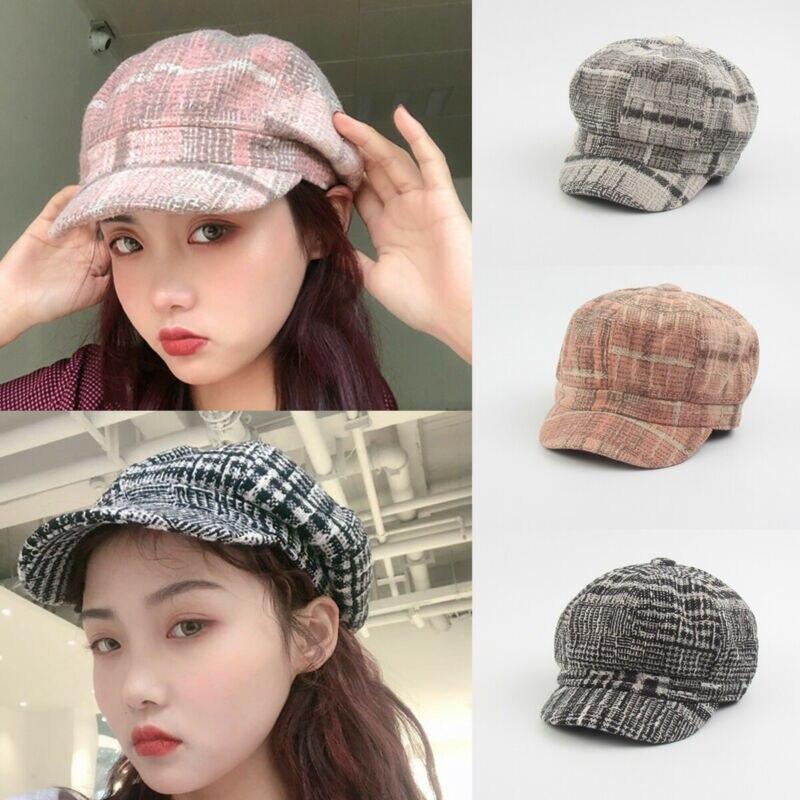 Goocheer Wool Women Beret Autumn Winter Octagonal Cap Hats Stylish Artist Painter Newsboy Caps Black Grey