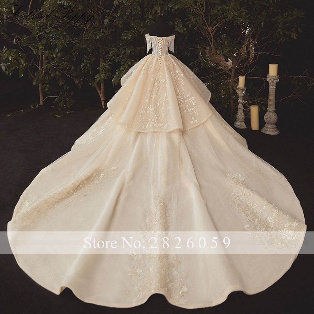 Lceland Poppy Off the Shoulder Ball Gown Wedding Dresses Plus Size  Champagne Beaded Vestido de novia Lace Appliques Bridal Gowns