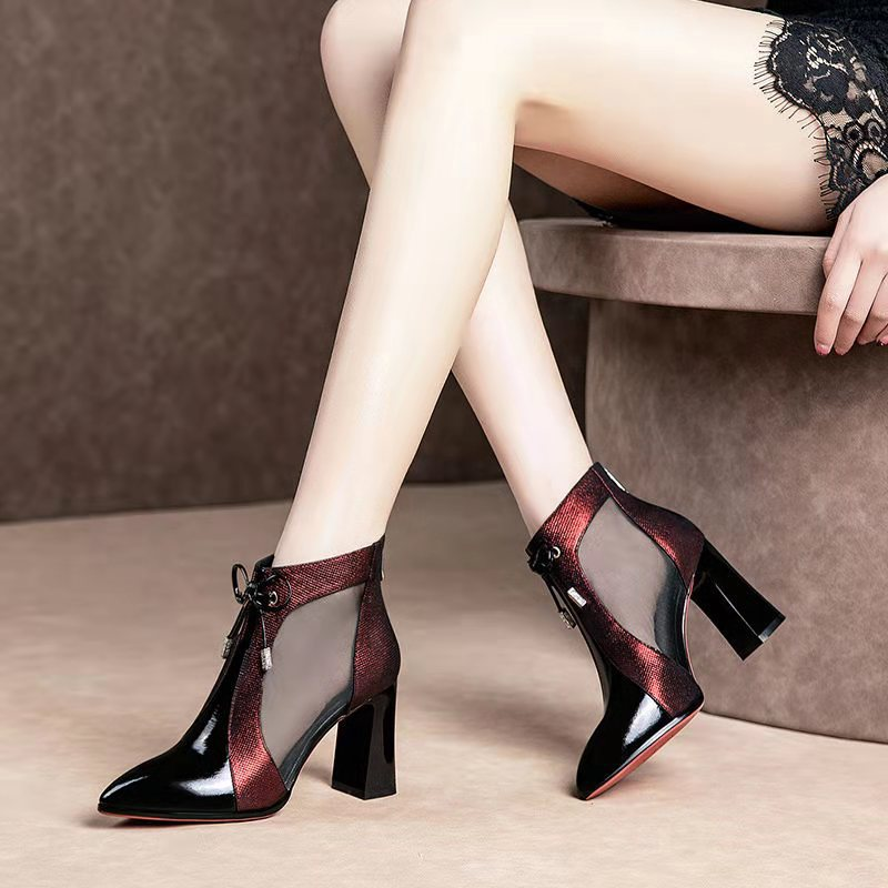 Woman High Heels Wedding Shoes Red Pumps Part Platform Heel Female Martin Boots Sandals Black Patent Leather Hollow Women Shoes