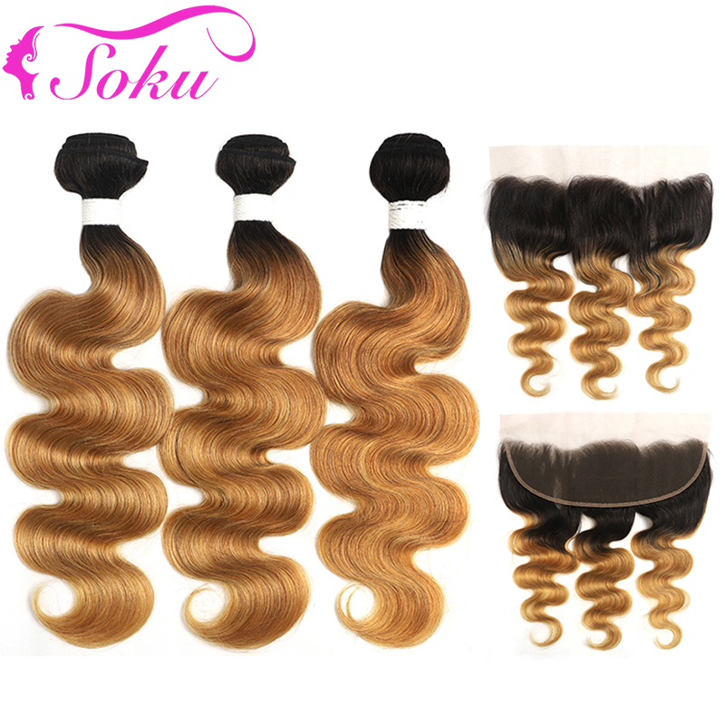 1B 27 Ombre Human Hair Bundles With Frontal 13x4 SOKU Honey Blonde Brazilian Body Wave Bundles With Closure Non-Remy Hair Weave