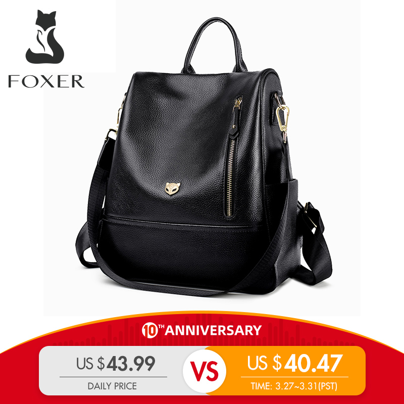FOXER Brand Student Softback Backpack Women Genuine Leather Solid Travel Bags Female Cow Leather Fashoin Backpack For Lady