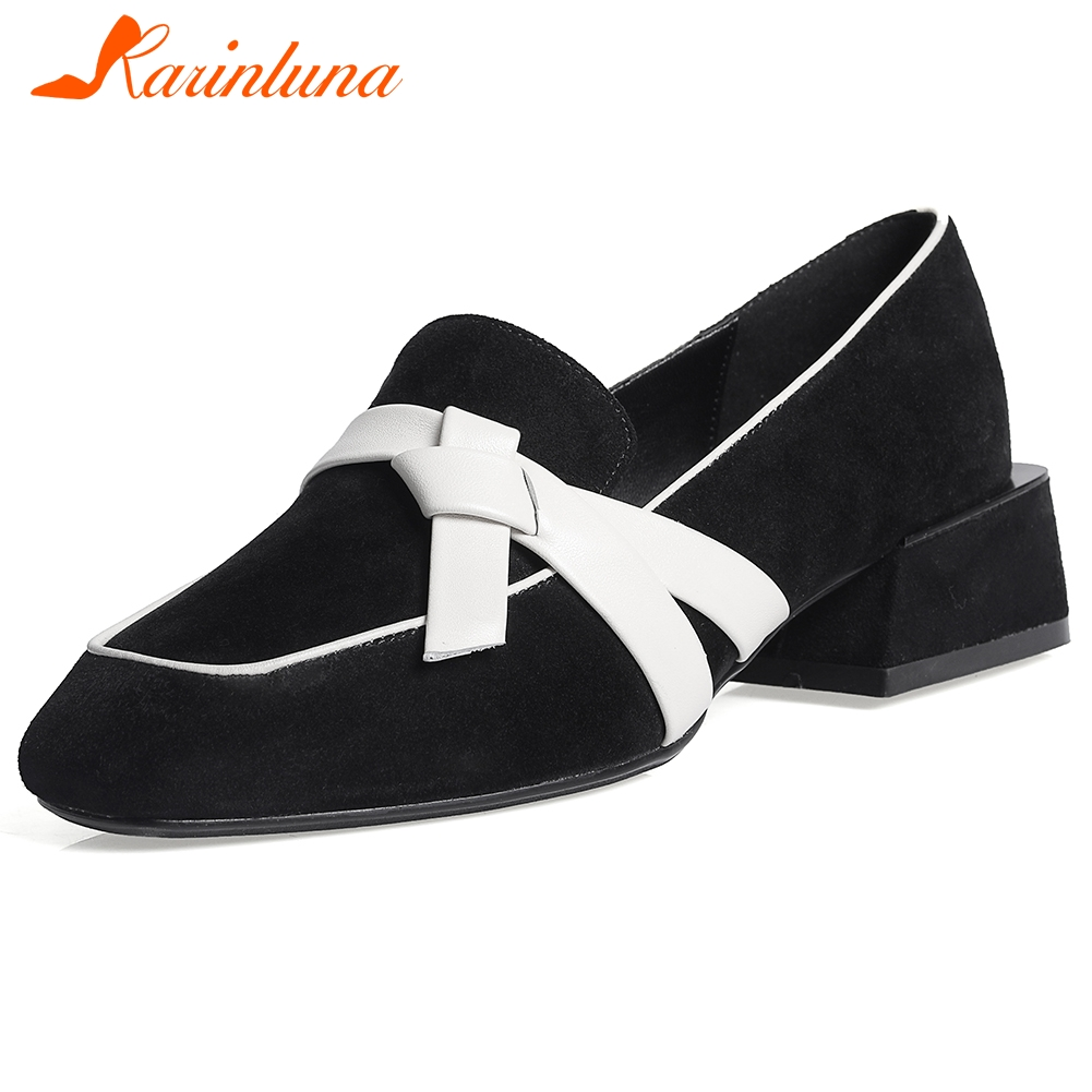 Karinluna New Fashion 2020 Kid Suede chunky heels shoes woman pumps female slip on concise lady pumps women shoes
