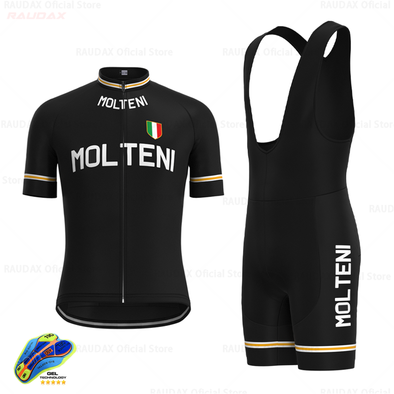 Men's Retro Black Cycling Jersey Set Short Sleeves Clothing Suit Quick-drying Summer Outdoor Sportswear Maillot Ciclismo Hombre
