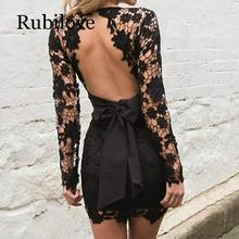 Rubilove Backless Deep V Neck Sexy Lace Dress Women Black Embroidery Hollow Out Long Sleeve Elegant  Party Dresses Summer