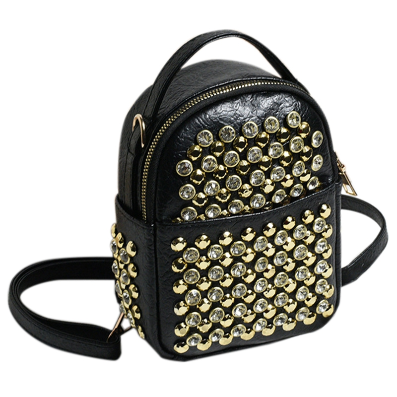 Multifunctional Small Backpack Ladies Fashion Rivet Travel Bag Mini Diamond Pu Leather Backpack