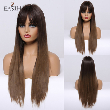 EASIHAIR Women Long Straight Black to Brown Ombre Wigs with Bangs Synthetic Natural Hair Daily Cosplay Heat Resiatant - discount item  50% OFF Synthetic Hair