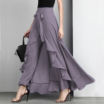 Women Palazzo Pants 2020 Causal Ruffle Drawstring Trouser Elegant High Waist Irregular Loose Pure Color Autumn Female Pant Skirt 1