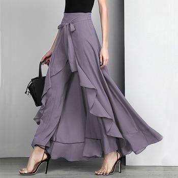Women Palazzo Pants 2020 Causal Ruffle Drawstring Trouser Elegant High Waist Irregular Loose Pure Color Autumn Female Pant Skirt 1