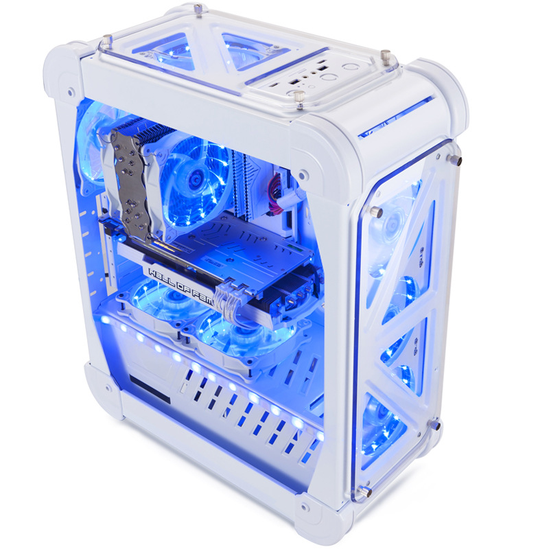 46*21*54.5cm Gaming PC Case with 4 fans Acrylic Full Transparent ATX Vertical Water Cooling Chassis gamer gabinete computador