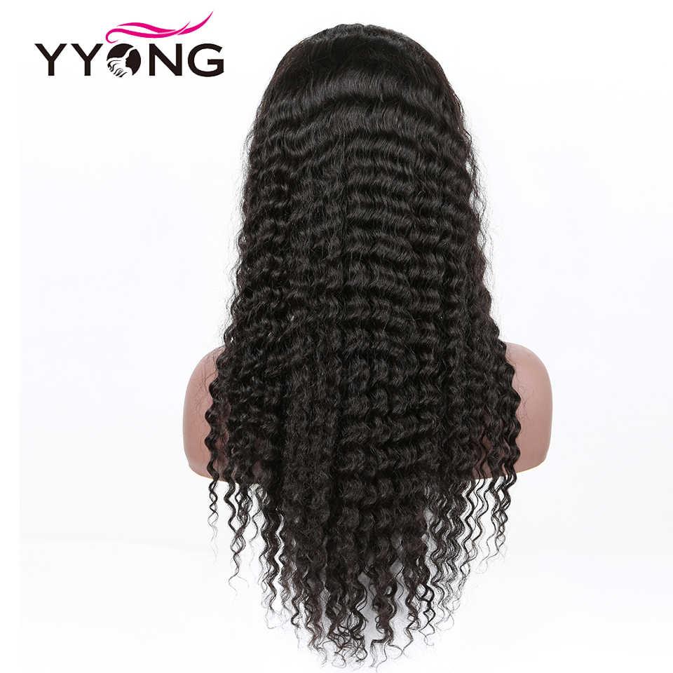 Pelo de Yyong pelucas de cabello humano Frontal de encaje 360 sin pegamento pelucas de encaje de 360 con pelo de bebé Peluca de cabello humano Remy de onda profunda brasileña gruesa