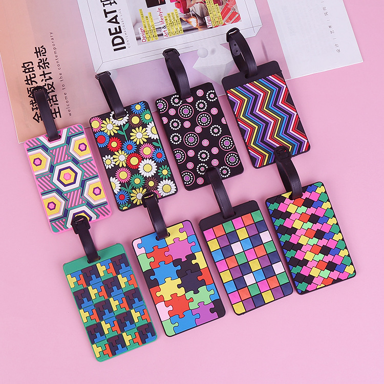 2020 Luggage Card Silicone Name Hang Tag Creative National Style Multi-color Geometric Cartoon Hangtag For Luggage/Suitcase