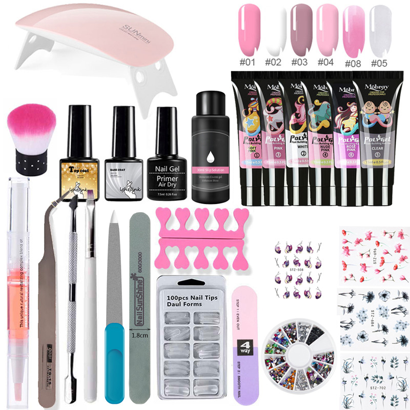 Nail Lamp Crystal Jelly Nail Art Kit Manicure Set Extend Builder Poly Gel Kits Finger Nail Extension UV LED Acrylic Builder Gel