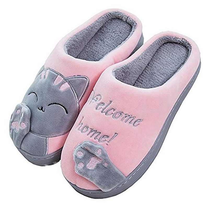 PUIMENTIUA Mulheres Chinelos Em Casa de Inverno Sapatos Gato Dos Desenhos Animados Não-slip Suave Inverno Quente Casa Indoor Chinelos Casais Chão Do Quarto
