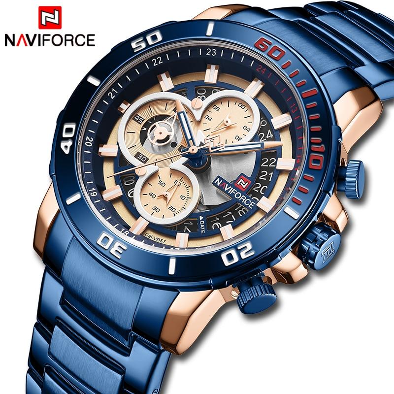 New NAVIFORCE Watch Men Top Luxury Brand Stainless Steel Waterproof Quartz Mens Watches Chronograph Sports Wristwatch Male Clock