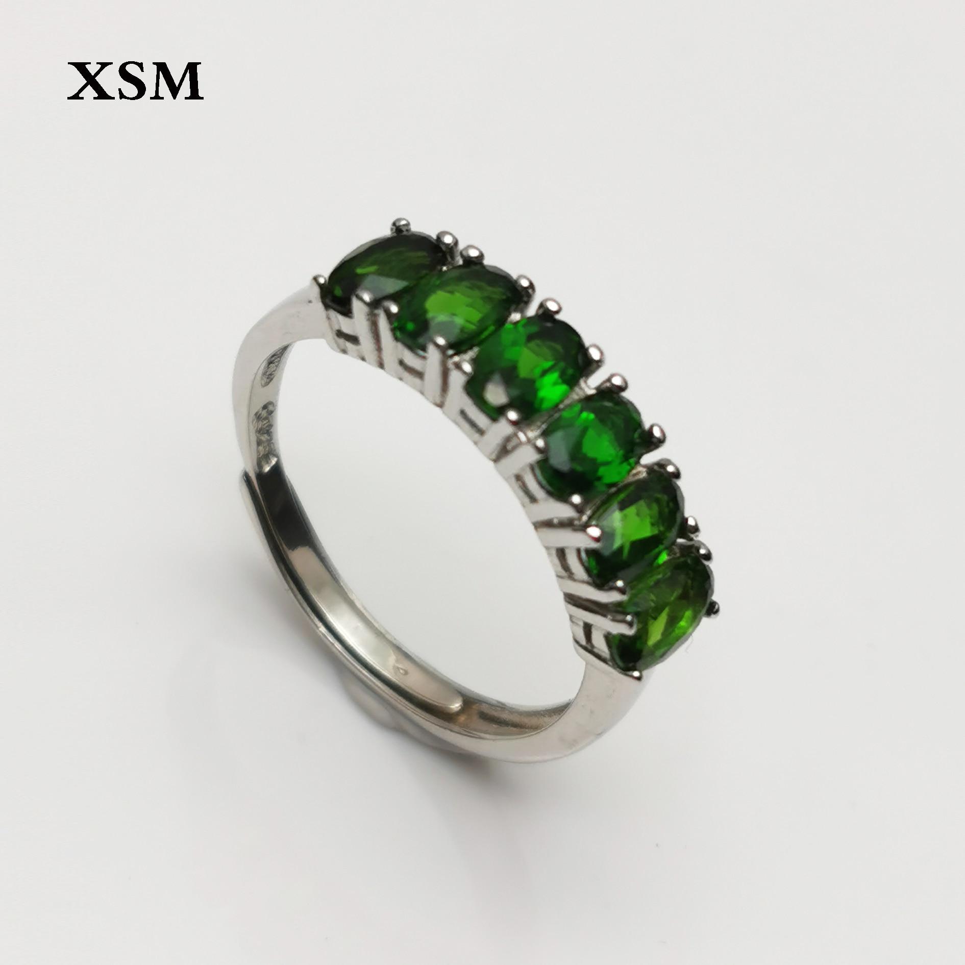 100% naturel vert diopside pierre gemme 925 en argent sterling réglable bague fine bijoux pour meilleur pour la boîte de cadeau de fiançailles de la femme