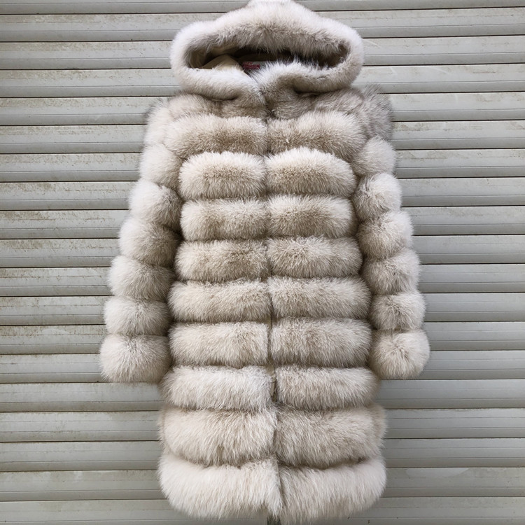 100% Natural Real Fox Fur Coat Women Winter Genuine Vest Waistcoat Thick Warm Long Jacket With Sleeve Outwear Overcoat plus size 103