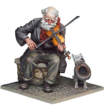 Unassambled 1/32 54mm  ancient Fiddler and dog  Resin figure miniature model kits Unpainted