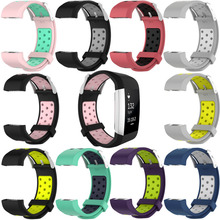 Adjustable Breathable Wristbands For Fitbit Charge2 Smart Bracelet With Two-color Sports Silicone Replacement Wrist Strap 1eh