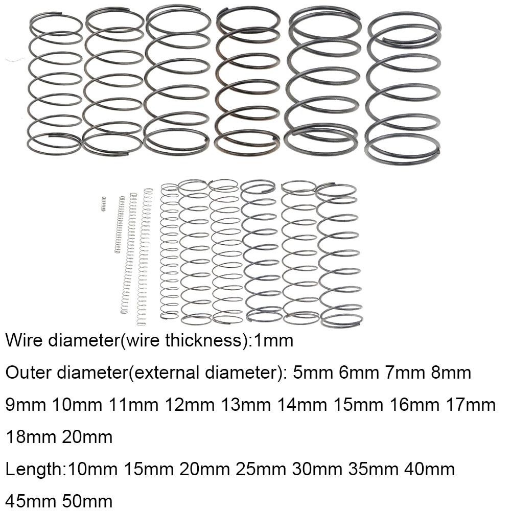 10PCS 1*5 6 7 8 9 10 11 12 18 20*10-50mm Spring Steel Small Compression Release Mechanical Return Spring Pressure Spring OD 5mm