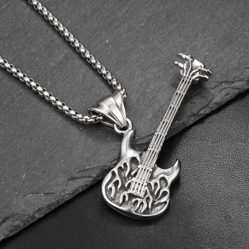Hip Hop Fashion Personality Nightclub Trend Rock <font><b>Guitar</b></font> Pendant <font><b>Titanium</b></font> Ssteel <font><b>Necklace</b></font> Hanging Ornaments Men Women image