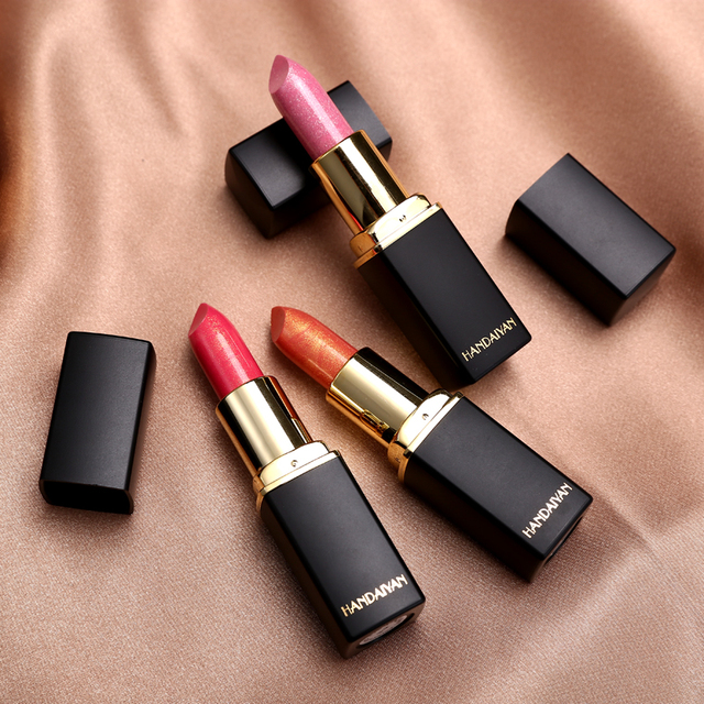 9 Colors Luxury Lipstick Lips Makeup Waterproof Shimmer Long Lasting Pigment Nude Pink Mermaid Shimmer Lipsticks Makeup 2