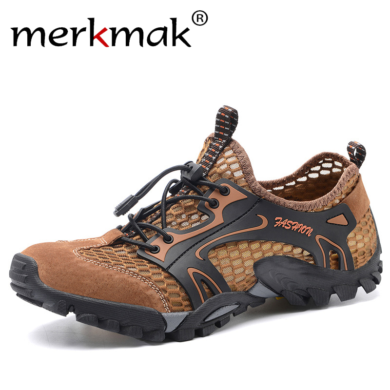 Merkmak 2020 Summer Breathable Mesh Men's Sneakers Non-slip Wear-resistant Hiking Shoes For Men Big Size 50 Casual Sport Shoes