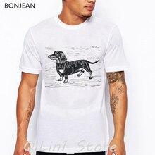 цены Dachshund Art Print vintage t shirt men dog lover tee shirt homme summer tops men's t-shirts anime white custom tshirt camiseta