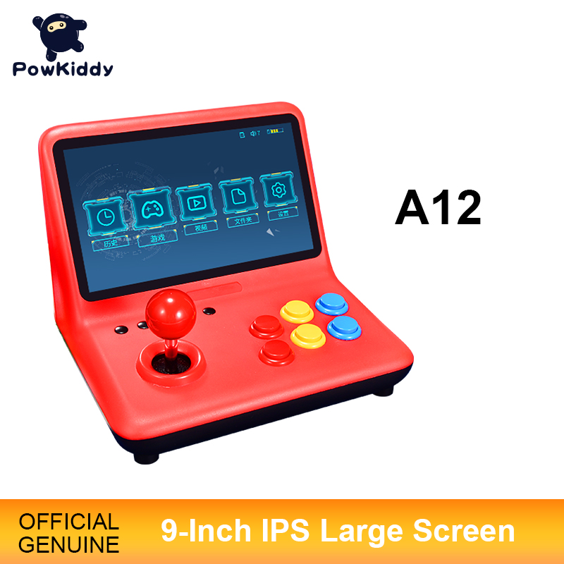 POWKIDDY A12 9 Inch Joystick Arcade A7 Architecture Quad-Core CPU Simulator Video Game Console New Game Children s Gift