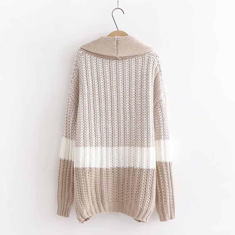 HEE GRAND женские черные Лоскутные кардиганы Элегантные Осенние толстые свитера цвета хаки 2019 зимняя теплая верхняя одежда с карманами WZL1548