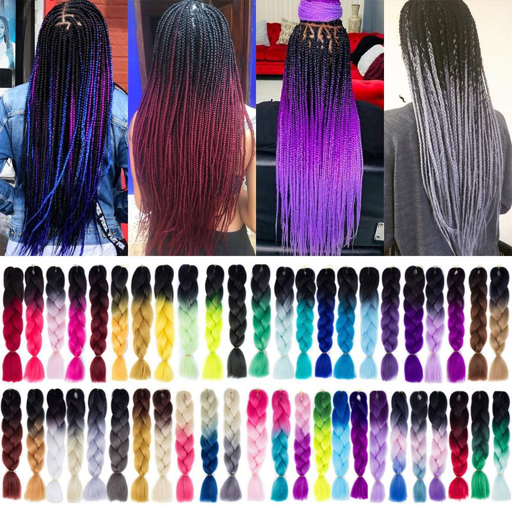 105 Color Ombre Jumb1o Synthetic Braiding Hair Pre Stretched Silky Strands Crochet Hair Extensions For Braids Hairstyle Blonde