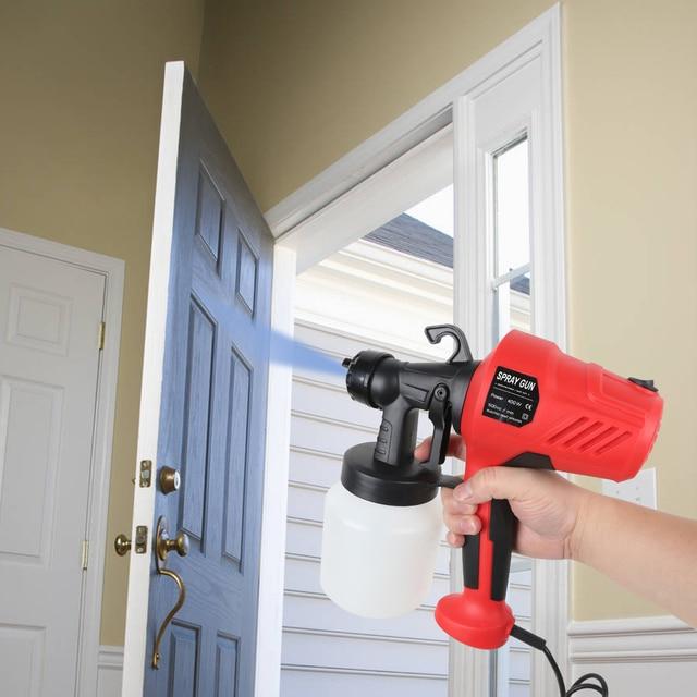 400W Electric Spray Gun 800ml Adjustable Windows Walls Painting Sprayer Gun Handheld Paint Spray Gun Three Nozzle Pattern 2.5MM