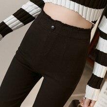 Black Waist Raw Edge Design Plus Fertilizer XL Tights Pencil Pants Irregular One Button Buckle