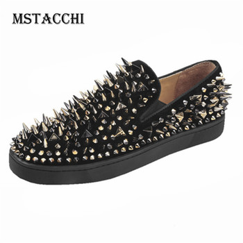 MStacchi 2020 High Quality Luxury Men Leisure Shoes Rivet Slip-On Low Top Comfortable Men Sneakers Outdoor Nightclub Male Shoes
