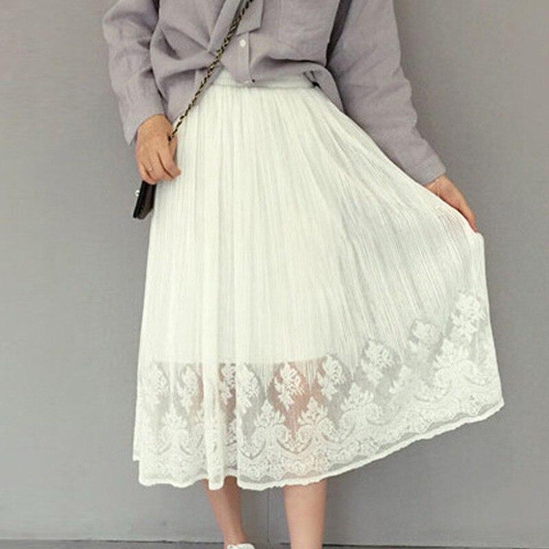 Women Pleated Skirt Mesh Lace Tulle Skirt White Black High Waist Skirt Sexy Hollow Maxi Long Skirts