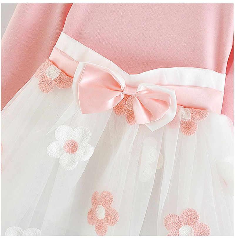 חדש שנה תינוקות שמלת ילדה פעוט ילדים בייבי בנות ארוך שרוול טול טלאי פרח נסיכת אדום המפלגה בגדי שמלת 6M 18M