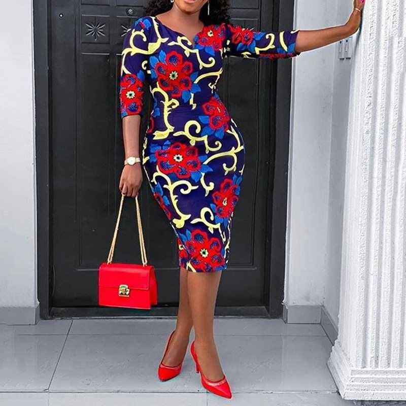 Африканская мода плюс размер больше размера d 2XL с цветочным принтом, обтягивающее платье элегантные офисные платья винтажное платье ol вечерние Халат средней длины 2019